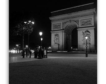 Paris Photography, Paris decor, home decor, Paris at night, Paris wall art, Arc de Triomphe - Fine Art Photograph B&W