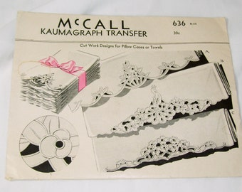 Vintage McCall Kaumagraph Transfer Pattern #636 Cut Work Designs for Pillow Cases or Towels Unused