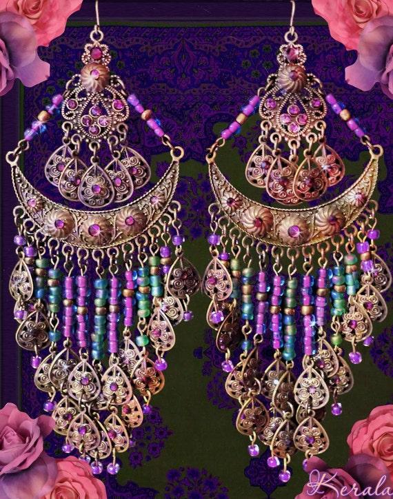 Large Exotic Bohemian Gypsy Chandelier Earrings Long Indian