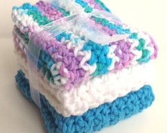 Crochet Dishcloths Washcloths - Set of 3 - For Kitchen, Bathroom, Baby - Blue, Purple, Green, White - 100% Cotton
