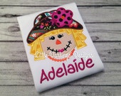 Fun Girls Scarecrow Appliqued and Personalized Shirt - Jewel Toned Paisley