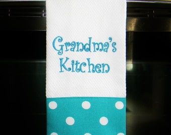 Personalized Kitchen Towel - Turquoise Dot | Housewarming Gift | Hostess Gift | Gifts for Her | Wedding