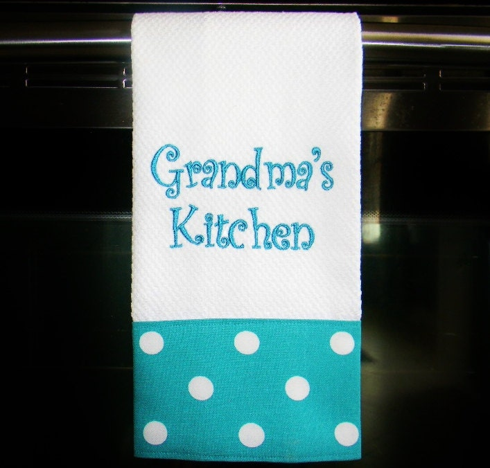 Turquoise Kitchen Towels: Personalized Kitchen Towel Turquoise Dot Housewarming Gift