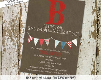 baby boy baby shower invitation B is for boy bunting banner baptism high tea shower baby sprinkle diaper (item 1260) shabby chic invitations