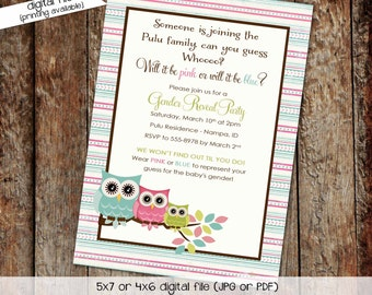 owl baby shower invitation owl first birthday baby girl shower Gender reveal invitation baby sprinkle (item 1427) shabby chic invitations