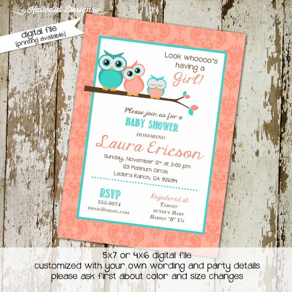 owl baby shower invitation floral chic invite diaper wipe brunch co-ed baby shower coral aqua birthday baby girl twin 1304 Katiedid designs
