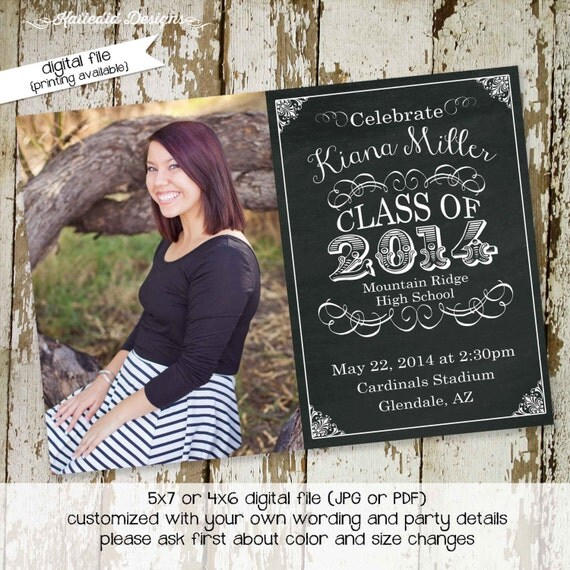 Graduation invitation announcement chalkboard baptism christening baby blessing party wedding ultrasound birth sip and see coed (item 411)