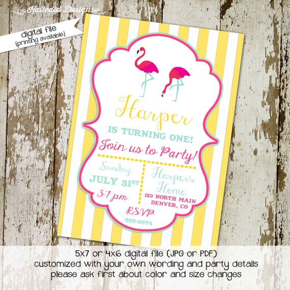 flamingo invitation baby girl shower birthday summer pink yellow lemonade stripe swim party mint green (item 288) shabby chic invitations