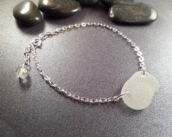 Scottish Anklet with White Sea Glass, Beach Glass Jewelry, Large Bracelet in Silver from Scotland
