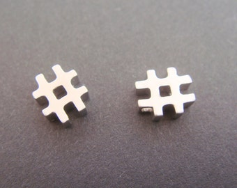 Matte Silver Tarnish Resistant Small # sign Pendant, Connectors, Earring Findings, 2 pc, O515279