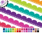 Scalloped Dash Digital Ribbons - Digital Clip Art - Instant Download - Commercial Use