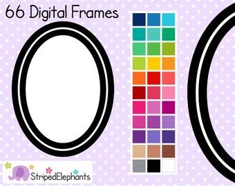 Line Oval Digital Frames 2 - Clip Art Frames - Instant Download - Commercial Use