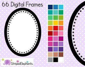 Star Oval Digital Frames - Clip Art Frames - Instant Download - Commercial Use