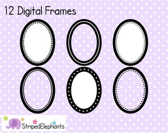 Oval Digital Frame Collection - Clip Art Frames - Instant Download - Commercial Use