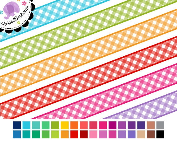 Digital Ribbon Clipart - Gingham Digital Ribbons - Instant Download - Commercial Use