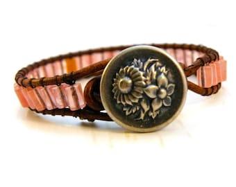 Flower Garden Peachy Pink Stones Leather Wrap Bracelet/ Harmony/ Boho Peaceful Chic/ Ready to Ship
