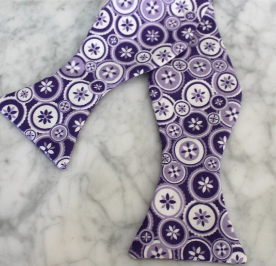 Men's Bow Tie in Purple Buttons- Self tying - freestyle - Groomsmen gift and ring bearer outfit
