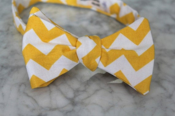 Bow Tie in Yellow and White Chevron - clip on, pre-tied with strap or self tying