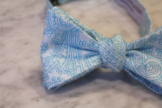 Bow Tie in Aqua Posh Paisley - Groomsmen and wedding tie - clip on, pre-tied with strap or self tying