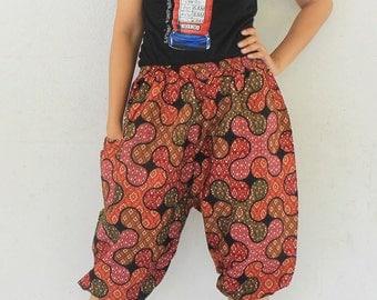 3/4 Hand made  Thai traditional mini flowers on jigsaw   , Thai batik  harem  pants and elastic waist,spa, yoga,hippie pants.