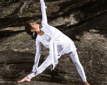 Large White Longsleeve Wrap Shirt Yoga Layer Top