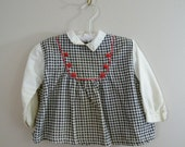 Vintage 1960s Girls Shirt / Black, White and Red / 3T Blouse