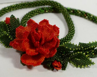 Seed Bead Necklace Beadwork Necklace Beaded Rose Necklace Red Rose Necklace Statement Necklace