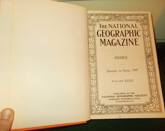SALE-Six -1919 National Geographic Magazine Hard Cover Volume 35 - 6 Months-January-June, with supplement inserts