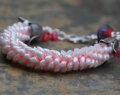 Cloud with the Pink Lining Kumihimo Magatama Beaded Bracelet