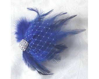 Royal blue feather hair clip