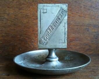Vintage European Apollinaris Metal Matchbox Holder and Tray circa 1940-50's / English Shop