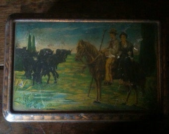 Vintage French horse riders tin box canister storage circa 1960's / English Shop