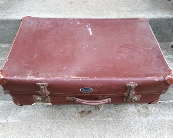 Vintage English rust red travel trunk suitcase circa 1950's / English Shop