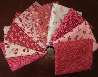 Fat Quarter Bundle of Little Pink Stars in Pinks and Reds by Margo Krager for Newcastle LAST ONE