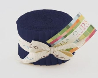 Bella Solids JUNIOR Jelly Roll Admiral Blue by for Moda
