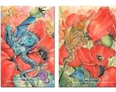 Poppy Dragon set. 2 x 4x6(10x15cm) whimsical fantasy mini flower dragons,signed archival print
