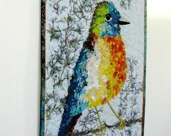 Bird Art Quilt - Fiber art Confetti Quilt - Quilted Wall Hanging - Summer Spring Wall Decor - Robin Wildlife Audubon - Bird Lover Gift