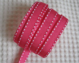 """3 Yards Saddle Stitch Grosgrain Ribbon 7/16"""" - Shocking Pink"""