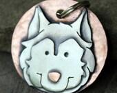 Husky Dog Tag - Large Dog ID Tag -Personalized Husky dog tag or key chain