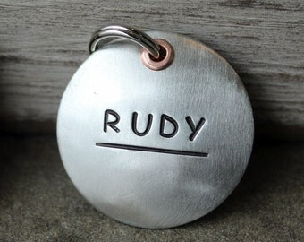 Large Dog Tag- Custom pet ID tag- Dog Tag- Large So Simple in Silver