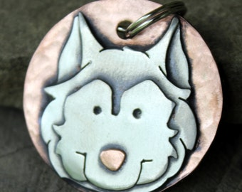 Husky Dog Tag - Large Dog ID Tag -Personalized Husky dog tag or key chain