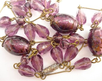 Art Deco Necklace Purple Amethyst Glass Beads  1920's 1930's