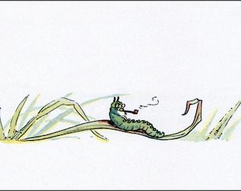 Caterpillar Smokes Pipe Greeting Card - Repro Johnny Gruelle