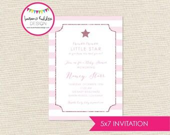 Twinkle Twinkle Baby Shower Invitation, Twinkle Twinkle Little Star, Baby Girl Shower Invitation, Lauren Haddox Designs