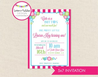 Cute as a Button Birthday, Cute as a Button Birthday Invitation, Button Printables, Button Birthday Decorations, Lauren Haddox Designs
