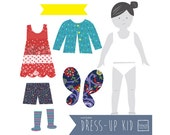 Dress-Up Doll Wall Stickers - bold & girly - restickable fabric decals