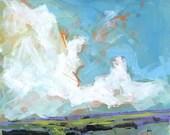 Original landscape painting - Sky four-massif