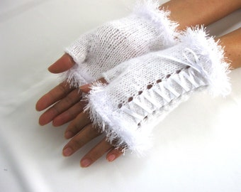 Little White  Mohair Fingerless Gloves