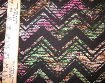 Rainbow Blur Chevron on Black Cotton Lycra Knit FAbric