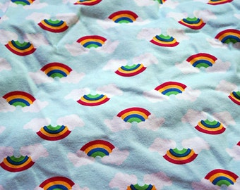 "Beautiful Icy Aqua Cloudy Rainbows - Cotton lycra.  4W stretch.  65"" wide."